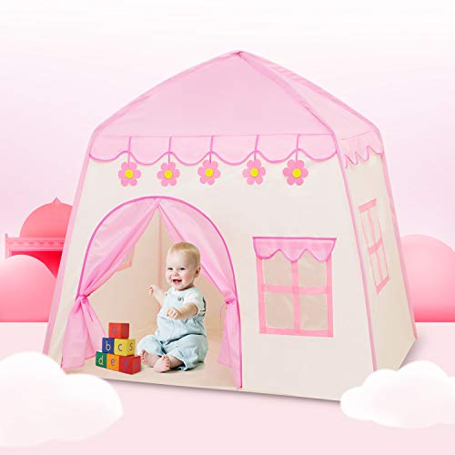 Princess Tent for Girls Play Tent for Kids Large Castle Playhouse with Carry Bag Indoor and Outdoor Games(51\u0026quot;x 39\u0026quot;x 51\u0026quot;)