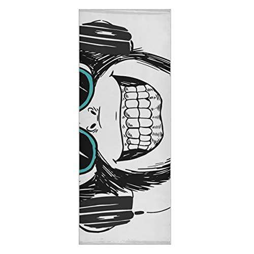 Estera de Toalla de Yoga Antideslizante Mono Divertido Escuchando música Juego de Esterilla de Yoga Esterilla de Toalla de Yoga Antideslizante súper Suave Adecuada para Playa, Fitness, Parque, Yoga y
