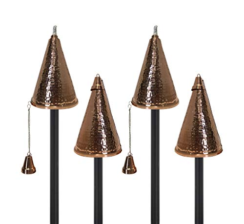 Legends Direct Small Hawaiian Cone Tiki Torch - Outdoor Oil Lamp of 35oz Includes 2-Piece 53' Black Pole and Snuffer - Premium Fiberglass Wick Burns for Over 15h! 4 Pack (Hammered Copper)