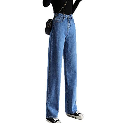 Pantalones Vaqueros Casuales con decoración de Bolsillo para Mujer Pantalones Anchos de Mezclilla Pantalones Sueltos de Pierna Recta Pantalones de Uso Diario Salvaje