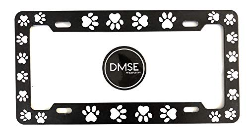 DMSE Animal Pet Dog Cat License Plate Frame For Your Car Automobile Easy Installation Durable Universal Fit (Black With White Paw)