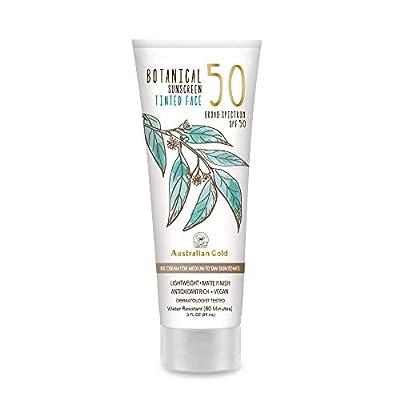 Australian Gold Botanical Sunscreen Tinted Face BB Cream SPF 50, 3 Ounce | Medium-Tan | Broad Spectrum | Water Resistant | Vegan | Antioxidant Rich