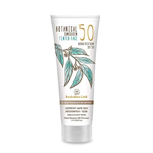 Australian Gold Botanical Sunscreen Tinted Face BB Cream SPF 50, 3 Ounce | Medium-Tan | Broad Spectrum | Water Resistant | Vegan | Antioxidant Rich