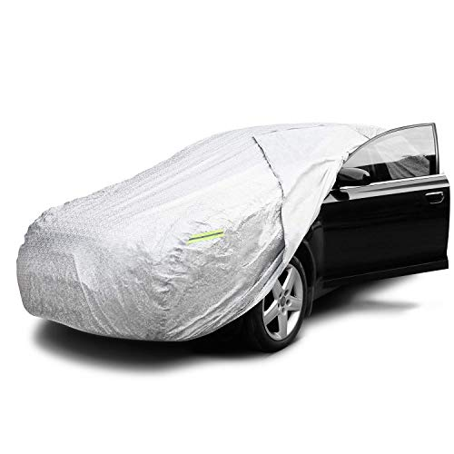 INTEY Bâche de Voiture Impermeable Housse de Protection Auto avec Ouverte Latérale pour Cabine, la Doublure en Coton, Contre la Pluie, la Saleté, le Rayon UV(480 * 175 * 120cm)