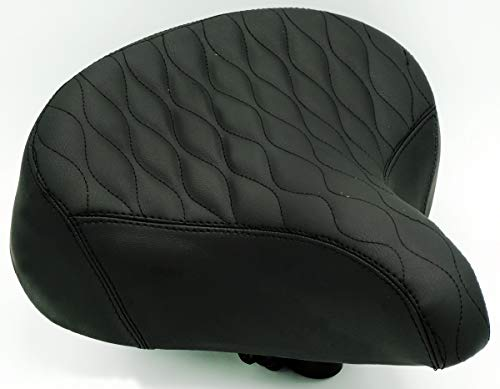 "Fito Oversize 10.5"" x 9.5"" Synthetic Leather Retro Beach Cruiser Comfort Bike Seat Saddle (GW-Black)"