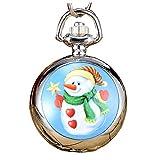 Classique Montre de poche Motif Noël Quartz Numerals Montre de poche de jour anniversaire Père cadeau (bonhomme de neige)