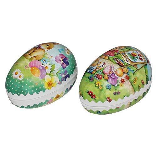 2er Set Bilderostereier zum Befüllen 9 cm bunt Sortiert, Ostereier, Osterdekoration, Eier, Füllei, Pappei, Papposterei