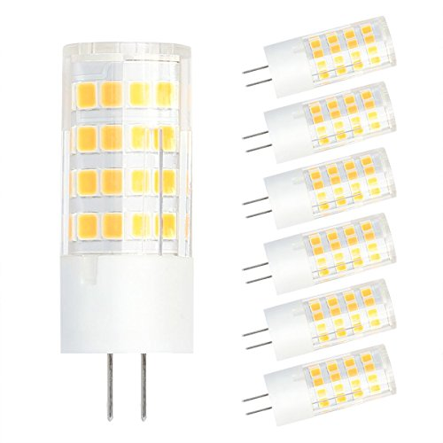 SHINE HAI Lampadine a LED G4,4W sostituire una Lampada alogena da 35W,320 Lumen,Bianco Caldo 3000K, AC / DC12V Risparmio Energetico ,6 pezzi