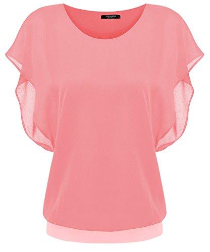 Zeagoo Damen Sommer Casual Loose Fit Kurzarm Fledermaus Batwing T-Shirt Shirt Chiffon Top Bluse, EU 42(Herstellergröße:XL), Hellrot