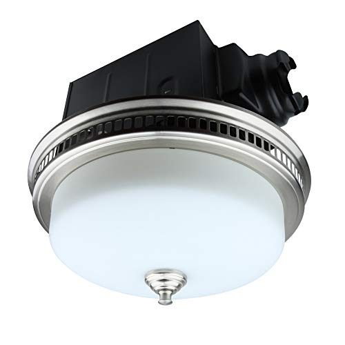 bathroom fan light combos Ultra Quiet 110 CFM Round Exhaust Bathroom Fan with Light and Nightlight Brushed Nickel (3x9W GU24 Base LED Bulbs and 1pcs E12 Nightlight Included) by Akicon