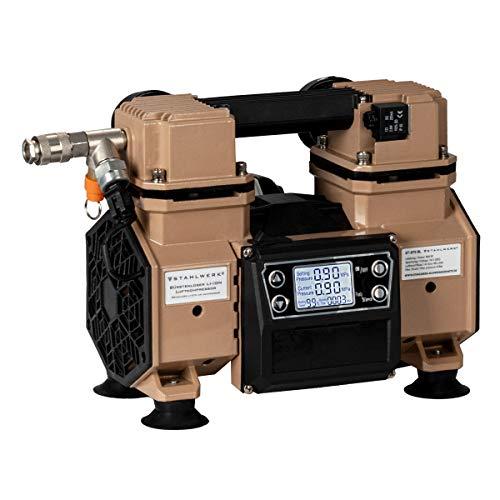 STAHLWERK Brushless Akku Flüsterkompressor Druckluft Kompressor mit 500 W modernste Brushless Technologie, verschleißfreier 2-Kolben-Motor 9 Bar 65L mit integriertem Digital Display