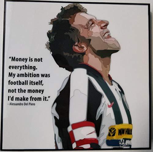 GLAGOODS Alessandro Alex del Piero Juventus Italia Italiano Serie A Fútbol Pop Arte Lienzo Enmarcado Wall Art Prints Póster Vinilo Regalo Citas