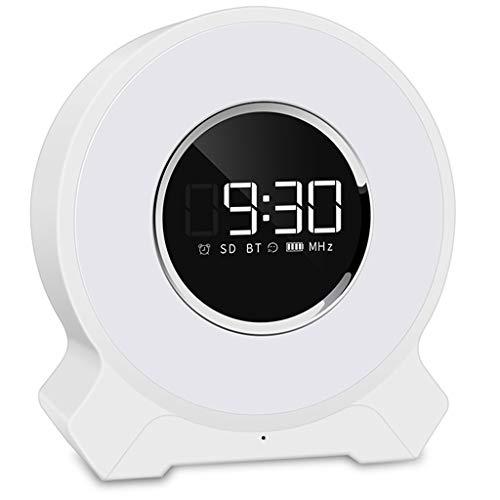 PBTRM Lámpara Despertadores Digitales con Altavoz Bluetooth + Reloj Despertador Personalizado + Tono Llamada Alarma Personalizado + Lectura Tarjeta FM + TF + Conexión AUX + Atenuación Táctil