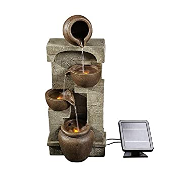 Peaktop Solar Powered Outdoor 4-Tier Bowl Waterfall Floor Fountain with LEDs Gray