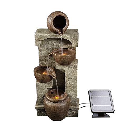 Peaktop Luci di ornamento in bronzo da giardino con fontana ad energia solare PT-SF0001