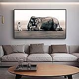Cuadro en Lienzo Cuadros Decorativos Mural Pintura de Elefante sobre Lienzo, Carteles e Impresiones, Imagen artística de Pared en Blanco y Negro para decoración de Sala de Estar