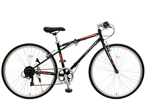 チャリンクスクロスバイク折りたたみ自転車約14kgベルーガシマノ6段変速700X28C(ブラックレッド)