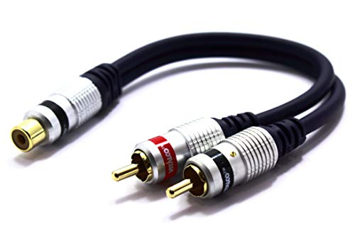 Cinch auf 2x Cinch Audio Y Adapter Vitalco 1 Chinch Buchse zu Zwei RCA Stecker Subwoofer koax Y kabel Verteiler
