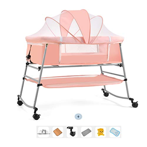 ZXLLAFT Children Rocking Bedside Bassinet - Portable Crib- Activity Mobile Arm Smooth Glide, Toys & Compact Fold Storage or Travel,Pink,110 * 62 * 96cm