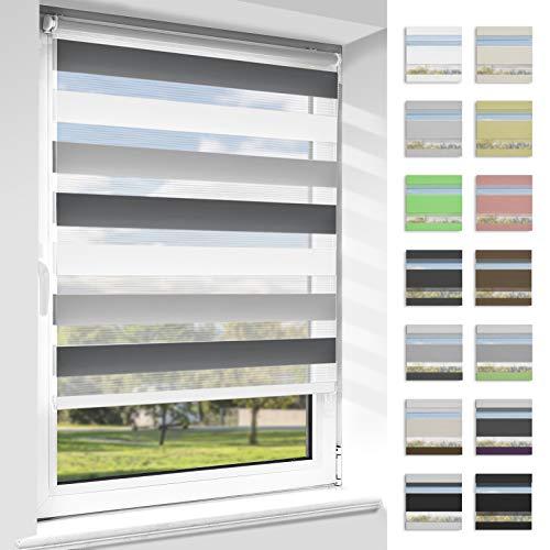 OUBO Doppelrollo Klemmfix ohne Bohren Duo Rollos für Fenster & Türen (Weiß-grau-anthrazit, 75cm x 150cm), Klemmrollo Seitenzugrollo Sicht und Sonnenschutz, Lichtdurchlässig und Verdunkelnd.