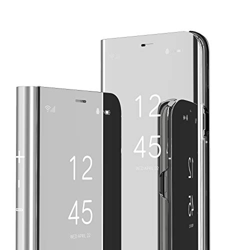 LEECOCO for Samsung A20 Case Slim Luxury Clear View Electroplate Plating Mirror Makeup Stand Scratchproof Full Body Protective Flip Case Cover for Samsung Galaxy A20 / A30 Mirror PU Silver