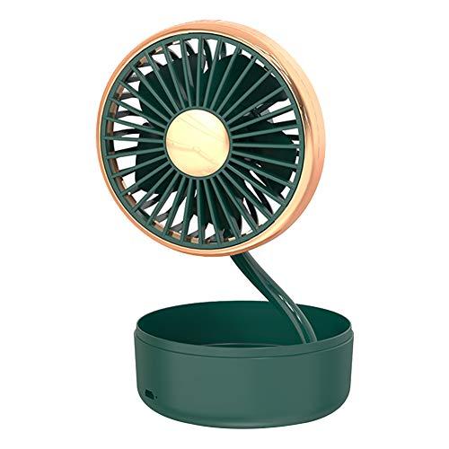 Ventilador USB para coche, diseño de girasol, 3 velocidades, 5 aspas, silencioso, para coche, escritorio, hogar, oficina, color verde