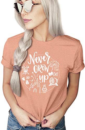 Never Grow Up Shirt | Women's Shirt | Unisex Shirt | Cute Shirt Vacation | Holiday Shirt (X-Large, Sunset)