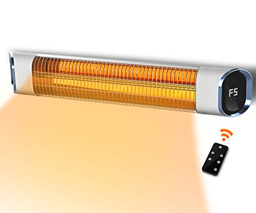 PATIOBOSS Electric Infrared Patio Heater Outdoor Wall-Mounted Gold Tube Quite Heat with Remote Control, 24H Timer Auto Shut Off, 9 Heating Option for Room, Garage,Courtyard