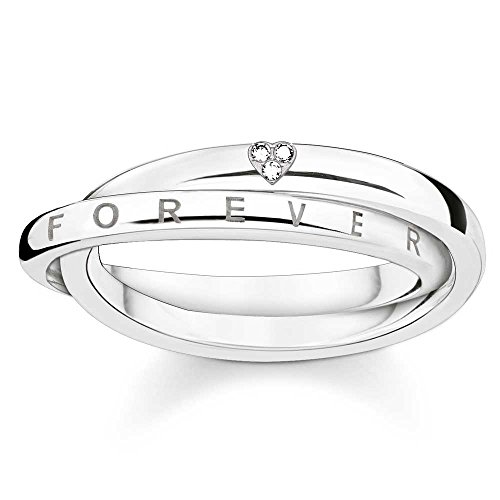 Thomas Sabo Anillo de plata con diamantes juntos para siempre D_TR0017-725-14-56