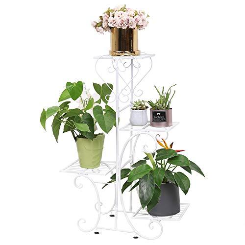Malayas Blumentreppe mit 4 Ablagen aus Metall Pflanzentreppe Pflanzenregal Blumenbank 81 × 57 × 26cm,weiß
