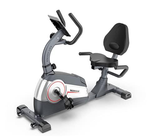 Bicicleta Estática de Spinning, Bicicleta reclinada con 7 Niveles de Resistencia, Soporte para Tablet,Sillín Ajustable y Silenciosa. GRIS (Gris). ⭐