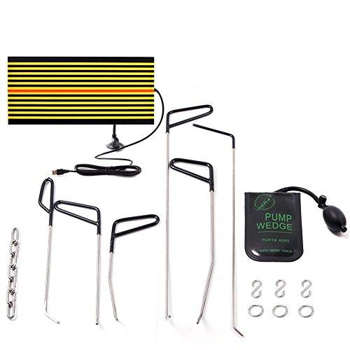 Mookis Dent Removal Rod Body Repair, Body Kit 11pcs Sin Color, Reparación de abolladuras y reparación de Granizo, Air Wedge, LED Reflector Board