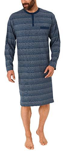 Normann Herren Nachthemd Langarm Streifenoptik - auch in Übergrössen - 291 110 90 773, Farbe:Marine, Größe2:52