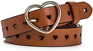 SGJFZD Peach Heart Buckle Leather Belt Ladies Fashionable Hollow Leather Belt Female Punching Belt (Color : Camel, Size : 105cm)