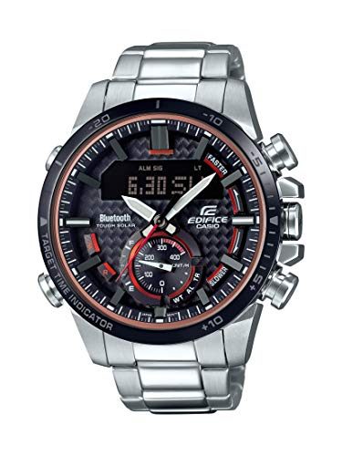 Casio Men's Edifice Quartz Watch with Stainless-Steel Strap, Silver, 22 (Model: ECB-800DB-1ACF