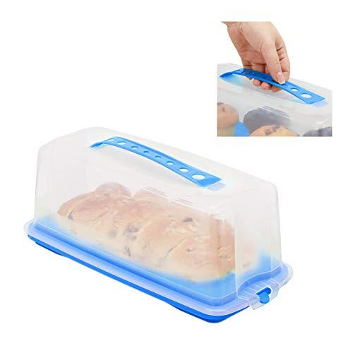 Relaxdays Kuchenbox eckig, Tragegriff, mit Deckel, für Kastenkuchen, Kuchenbutler, HBT 15 x 37 x 16 cm, blau/transparent