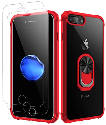 iPhone 7 Plus Case | iPhone 8 Plus Case,[ Military Grade ] with [ Glass Screen Protector] 15ft. Drop Tested Protective Case | Kickstand | Compatible with Apple iPhone 8Plus / iPhone 7 Plus -Red