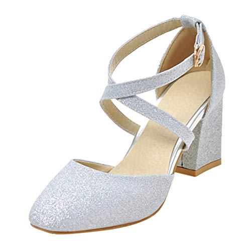 MISSUIT Damen Cross Straps High Heels Pumps Knöchelriemchen Blockabsatz Glitzer Brautschuhe Hochzeit(Silber,35)