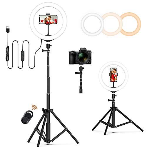 JEEMAK 10 Zoll LED Ringlicht mit Stativ& Handyhalter,Dimmbare Selfie Ringlicht Blitzgeräte für YouTube-Videoaufnahmen, Selfie, Live-Stream, Makeup/Fotografie Kompatibel mit Smartphone