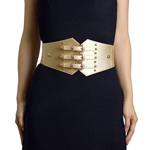 ZIFEIYU Women Vintage Leather Elastic Waist Belt Fashion Wide Belts with Gold Metal Buckle by Designer, cosplay belt
