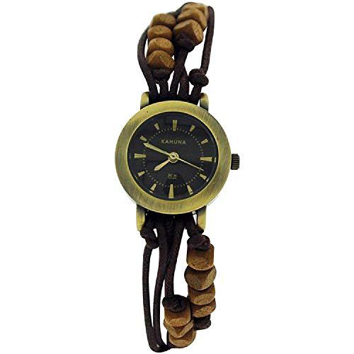 Kahuna Ladies Brown String Bead Bracelet Watch Toggle Pull Closure KLF-0008L