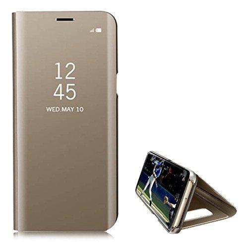 Hancda Coque pour Samsung Galaxy J4 Plus [Pas pour J4], Housse Coque Etui Flip Case Miroir Plastique Rigide Dure Étui Support Cuir Antichoc Protection Cover pour Samsung Galaxy J4 Plus,Or