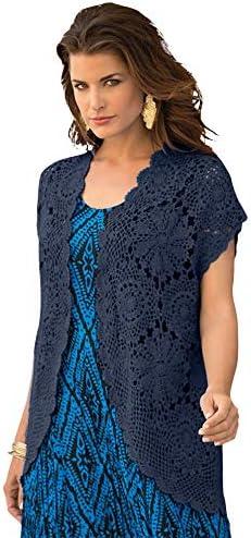 Roamans Women s Plus Size Medallion Crochet Cardigan Short Sleeve Sweater 26 28 Navy product image