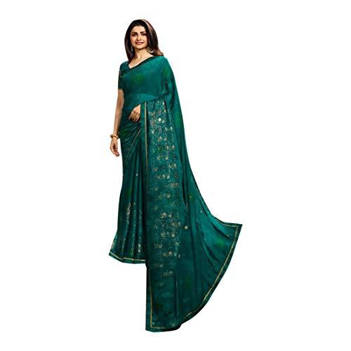 Sari de soirée élégant Bollywood en soie avec cristaux Swarovski 7416