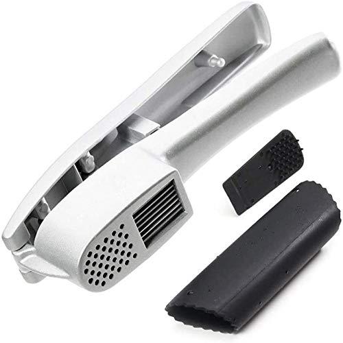 A-Generic Knoblauchpresse Knoblauchschneider Haushalts-Ingwer-Brecher 2-in-1-Legierungsküchenkochwerkzeug mit Knoblauchschäler und Reinigungsbürste, leicht zu reinigen