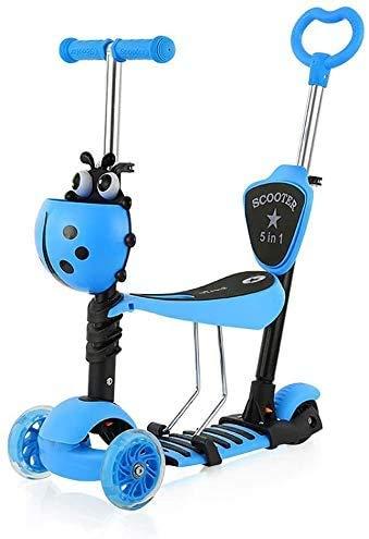 YOLEO 5-in-1 Kinder Roller Scooter mit Abnehmbarer Karikaturkorb Sitz Schubstange LED große Räder Bequeme Rückenlehne Höheverstellbare Lenker für Kleinkinder Jungen Mädchen ab 2 Jahre (Blau