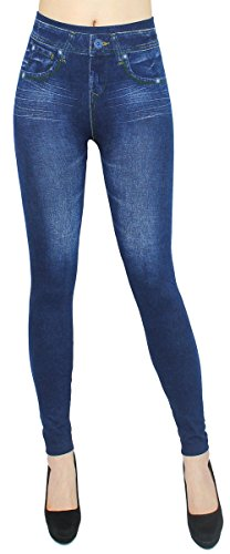 dy_mode High Waist Leggings Damen Hose Jeggings in Jeans Optik ideal für Frühjahr Sommer - OneSize Gr.36-42 - JL078 (JL0077-OneSize Gr.36-40)