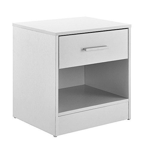 [en.casa] Eleganter Nachttisch Nachtschrank weiß +1x Schublade & 1x Ablagefach