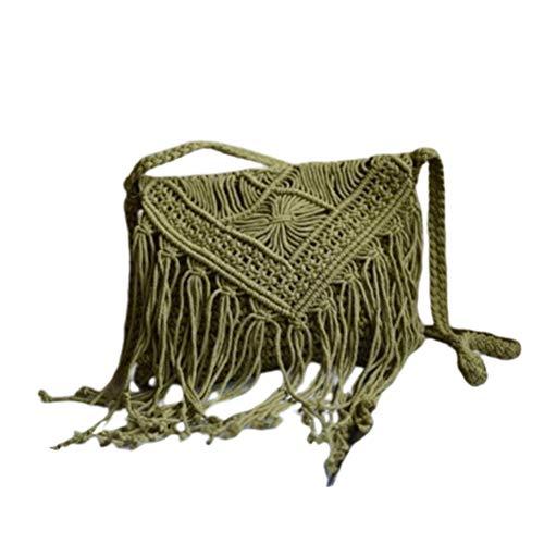 Bolso de paja con borla bohemio Bolso bandolera de hombro de Boho Bolso retro de Gilr Clutch Purse Straw para viajes al aire libre Playa de verano - Verde