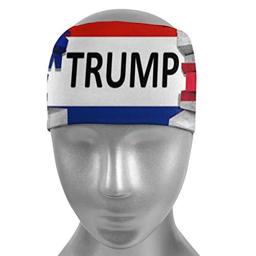 ULQUIEOR - Diadema elástica antideslizante para hombre, mujer, diseño de bandera de Trump de Estados Unidos